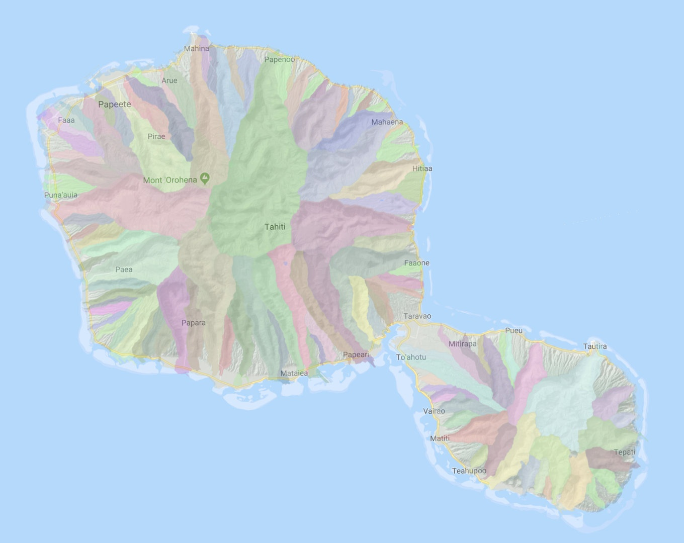 Bassins versants de Tahiti sur fond de carte Google Maps